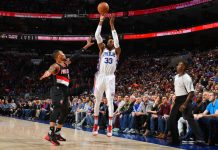 76ers的Robert Covington(白衫)在最後40秒連續命中兩個三分球,助76ers反勝Trail Blazers。(圖片:Jesse D. Garrabrant/NBAE via Getty Images)